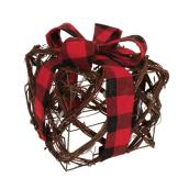 Fusion Products - Illuminated Rattan Presents with Plaid Bow - 6-in - 10 Warm White LED - Battery Operated
