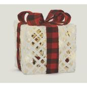 Fusion Products - Illuminated White Presents with Plaid Bow - 8-in - 20 Warm White LED - Battery Operated