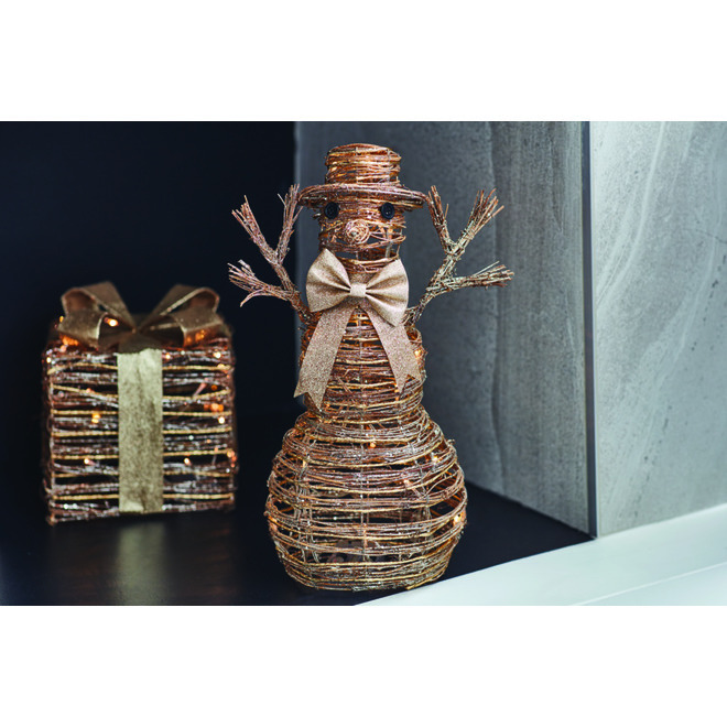 Fusion Products - Illuminated Rattan Snowman with Gold Bow - 20 Warm White LED - Battery Operated