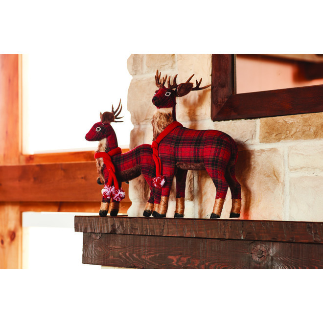 Fusion Products Tabletop Buffalo Plaid Reindeer - Polyester