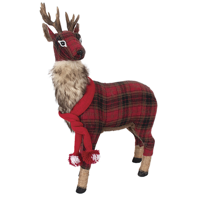 Fusion Products Tabletop Reindeer Buffalo Plaid - Polyester