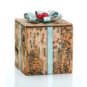 Decorative Gift Box with Removable Lid - Large Size - Metal/Wood - Brown/Silver/Red