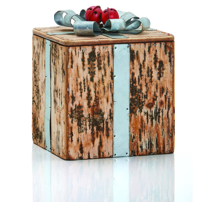Decorative Gift Box with Removable Lid - Small Size - Metal/Wood - Brown/Silver/Red