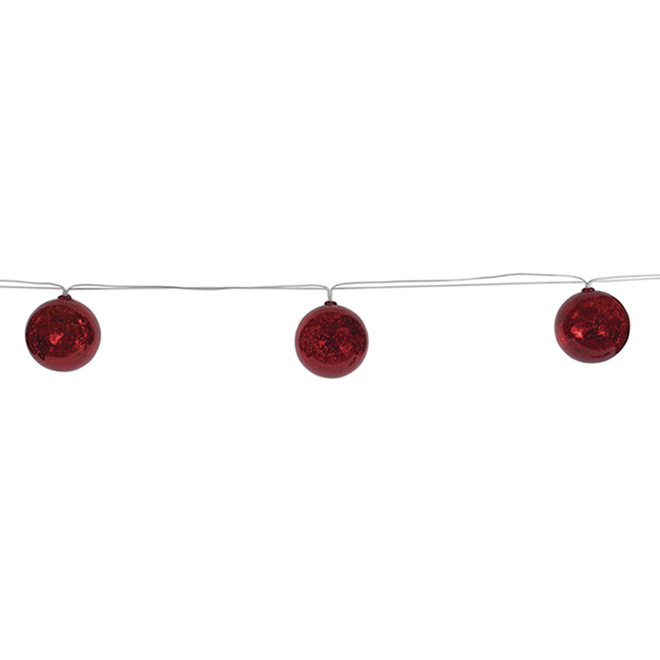 Battery-Operated LED Light String - 10 Lights - 13-ft - Warm White/Red