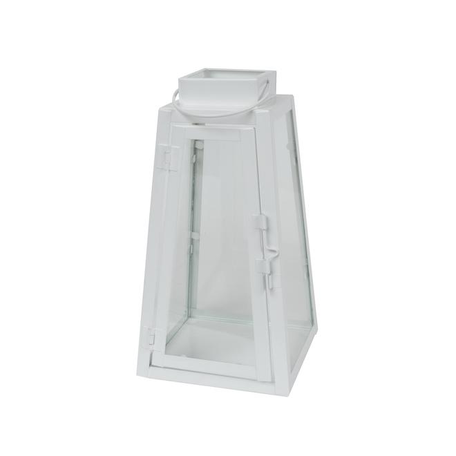 Lanterne triangulaire Fusion Products en métal, 9 po, blanc brillant