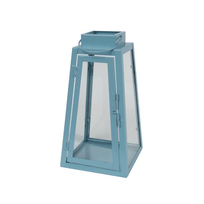 Fusion Products Triangle Lantern - Metal - 9-in - Aqua