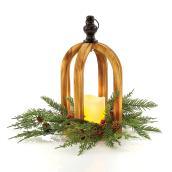 Lanterne de bois Fusion en forme de dôme avec lumière DEL, 11,8 po