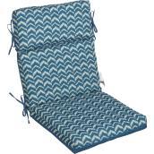 """Coussin de chaise « Ikat Stripe », 44"""" x 21"""" x 4"""", bleu"""