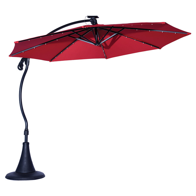 LED Cantilever Patio Umbrella - Vienne - 10' - Red