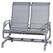 Chaise berçante de patio à deux sièges, Kansas, grise