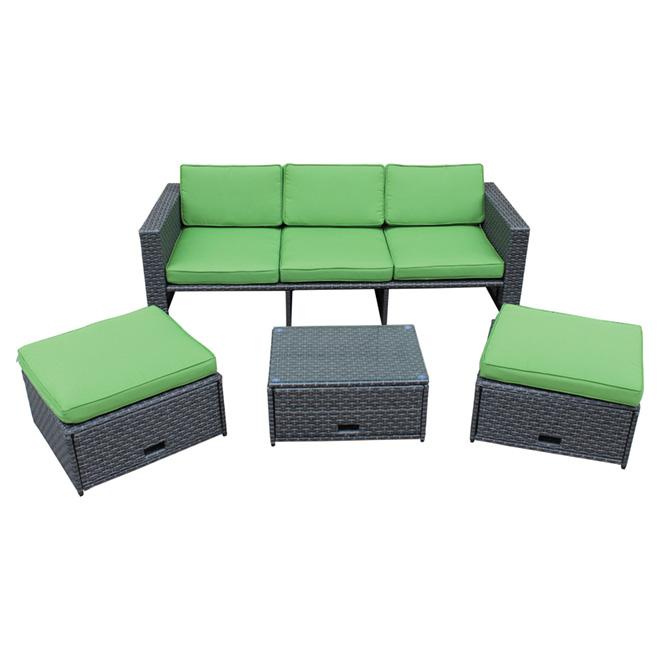 Ensemble de conversation, Summerlin, gris/vert, 4 pièces