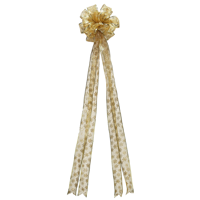 Bow with Snowflakes - Fabric - Gold
