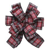 Plaid Bow - Fabric - Black - Grey - Red