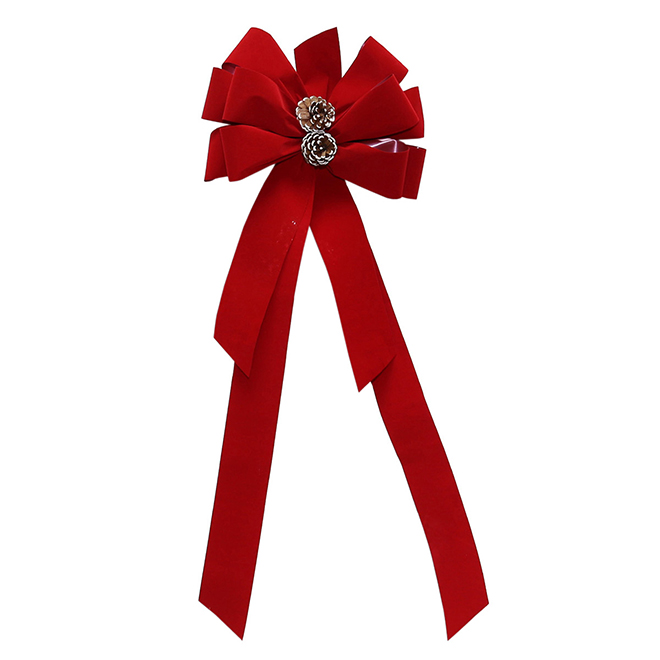 Deluxe Red Bow with Pinecones - Fabric