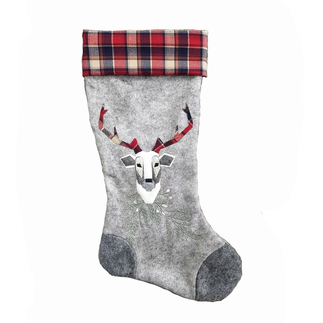 Holiday Living Christmas Stocking - Deer - 20-in - Grey