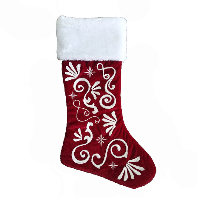 Holiday Living Christmas Stocking - Embroidered Design - 20-in - Velvet - Red and White