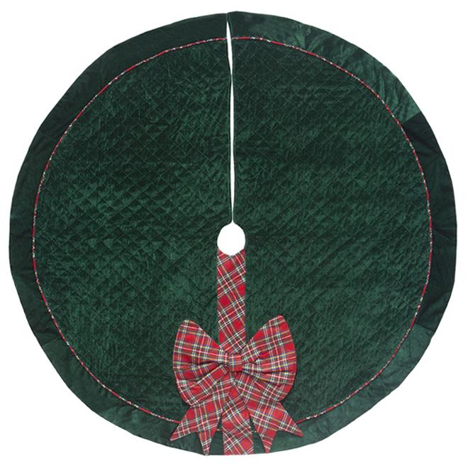 Jupe d'arbre Holiday Living, motif de carreaux, 56 po, velours, vert