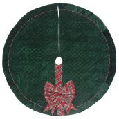 Holiday Living Tree Skirt - Plaid - 56-in - Velvet - Green