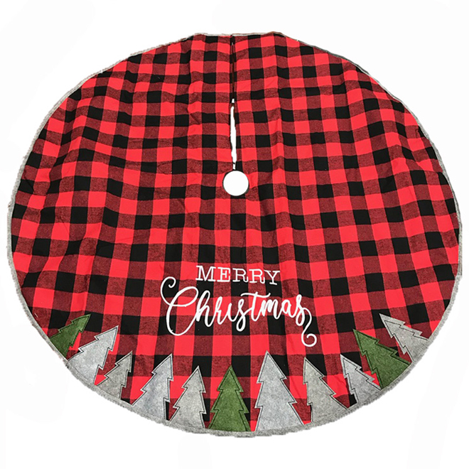 Holiday Living Tree Skirt - Buffalo Plaid - 56-in - Red and Black