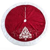 Holiday Living Tree Skirt - Embroidered Tree - 56-in - Velvet - Red and White