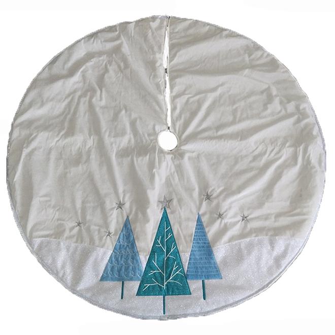 Holiday Living Tree Skirt - Holiday Trees - 56-in - Velvet - Blue and White