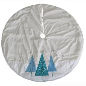 Holiday Living Tree Skirt - Holiday Trees - 56-in - Velvet - Blue and White