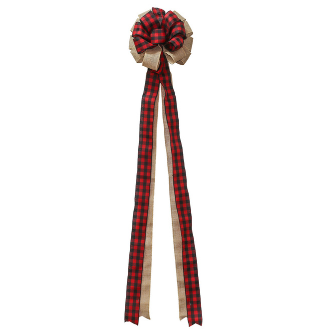 Holiday Living Treetop Bow - Buffalo Plaid - 4-in x 48-in - Velvet - Tan/Red/Black