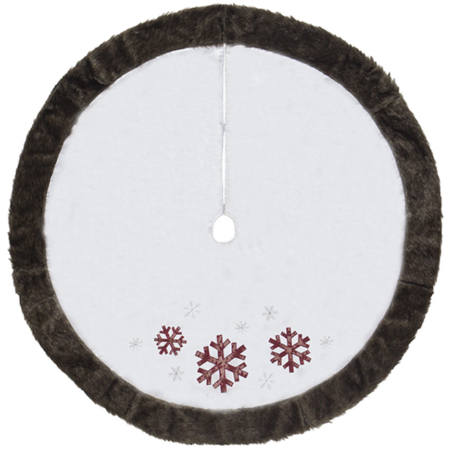 Holiday Living Tree Skirt - Snowflakes - 56-in - Linen - White/Brown