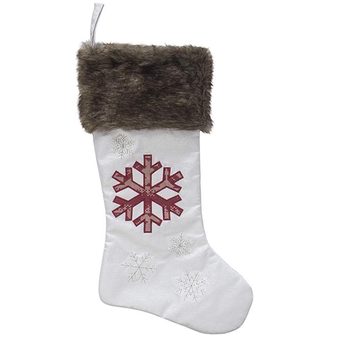 Bas de Noël Holiday Living, flocon de neige, 20 po, lin, blanc/rouge/brun