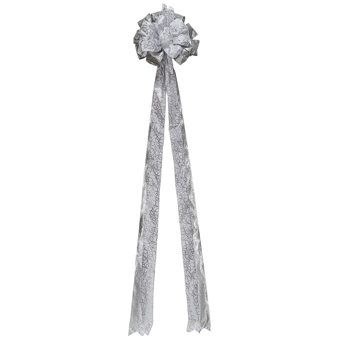 Holiday Living Treetop Bow - White/Silver