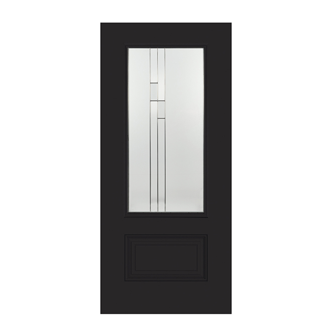 Steel Exterior Door - Stained Glass - Right - 34'' - Black