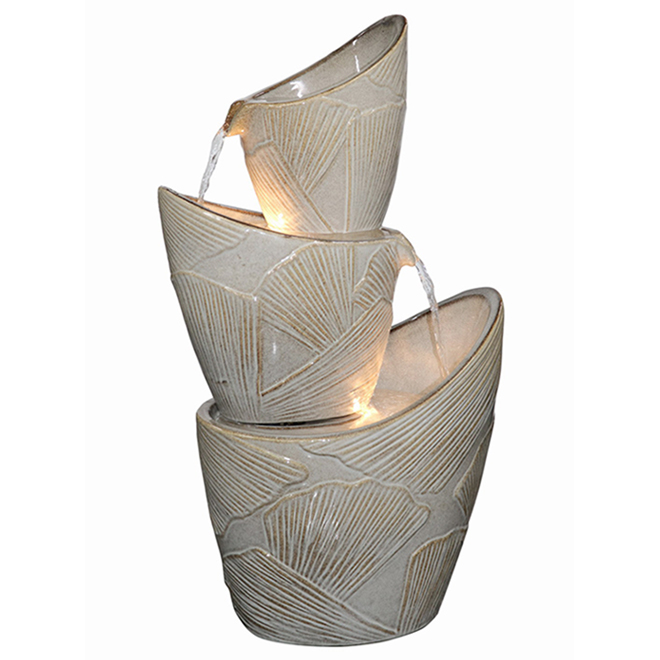 Style Selections 3-Tier Illuminated Fountain - 28-in - Ceramic - Grey