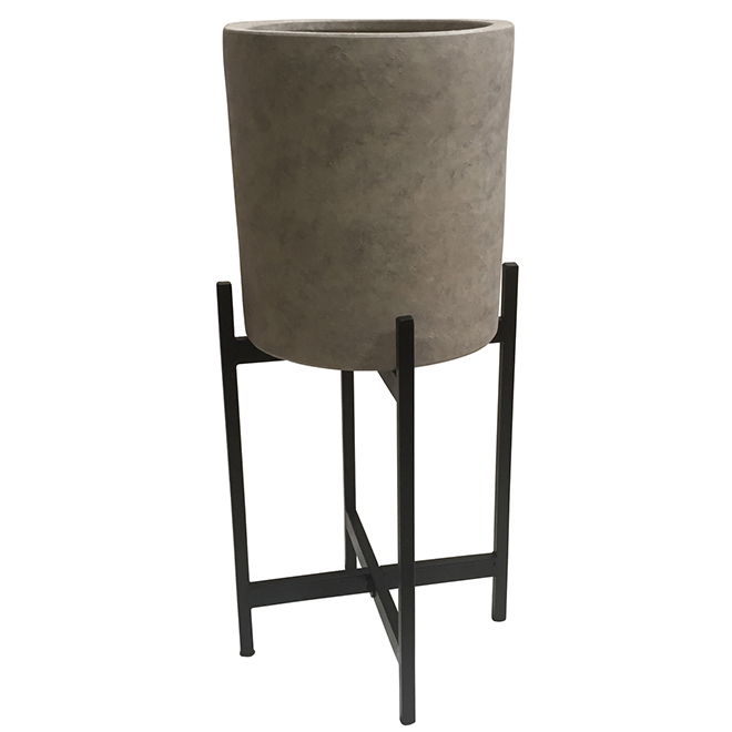 """Earthenware Pot and Metal Stand - 11.61"""" x 25"""" - Concrete/Black"""