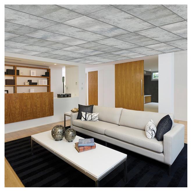 Tuile à plafond effet béton, 2' x 4', boite de 4