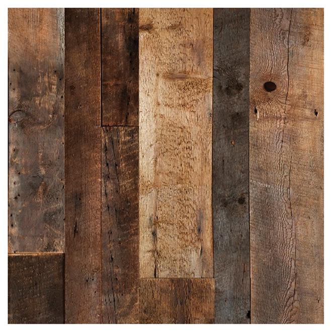 """Barn Wood Look Wall Panel - 48"""" x 96"""" - Brown"""
