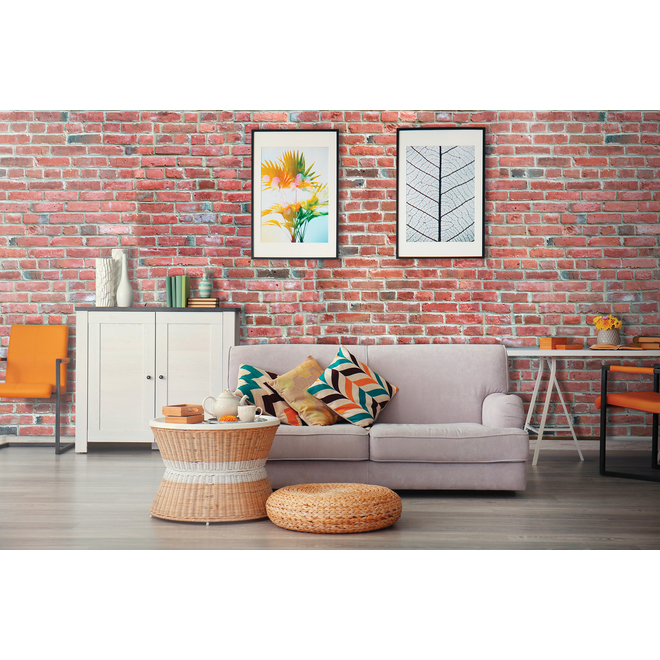 """Brick Effect Wall Panel - 48 """"x 96"""" - Red"""