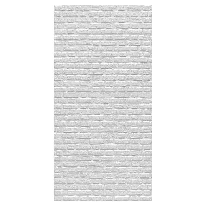 """Panneau mural, effet de briques, 48"""" x 96"""", blanc"""