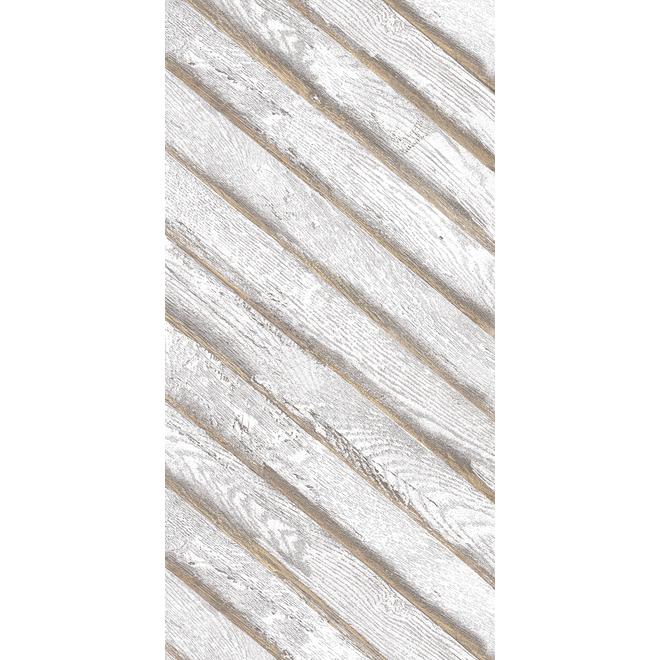 MURdesign Albatros Wall Tiles - Wood Imitation - 24-in x 48-in - White
