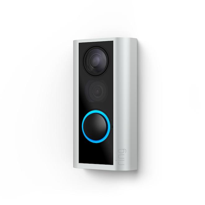Caméra de sécurité Ring intelligente pour porte avec détecteur de mouvement, 4 po x 2 po, nickel satiné