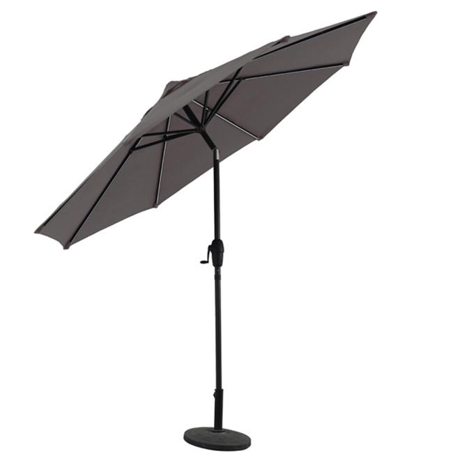 Market Umbrella - LED Lights - 9' - Aluminum - Grey/Brown