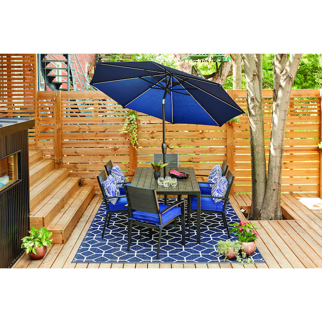 Market Umbrella - LED Lights - Aluminum - 9' - Brown and Navy
