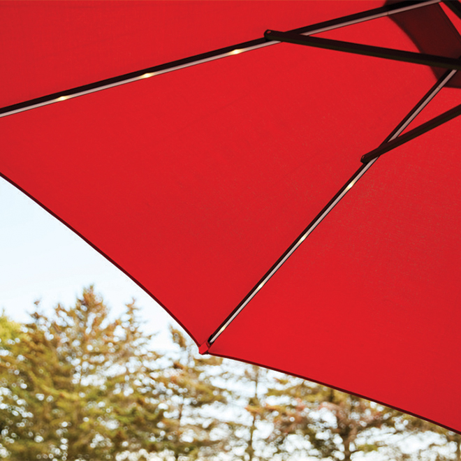 Market Umbrella - LED Lights - Aluminum - 9' - Brown and Red