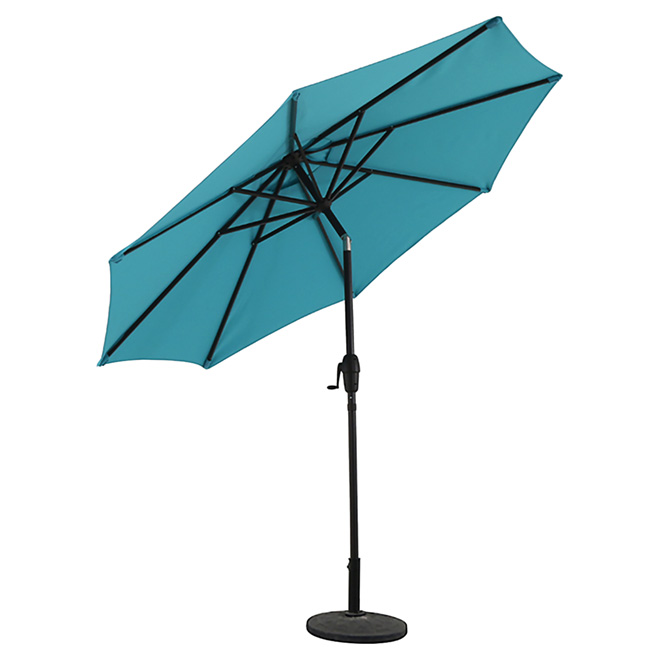 Parasol de marché Style Selections, aluminium et oléfine, inclinable, aqua