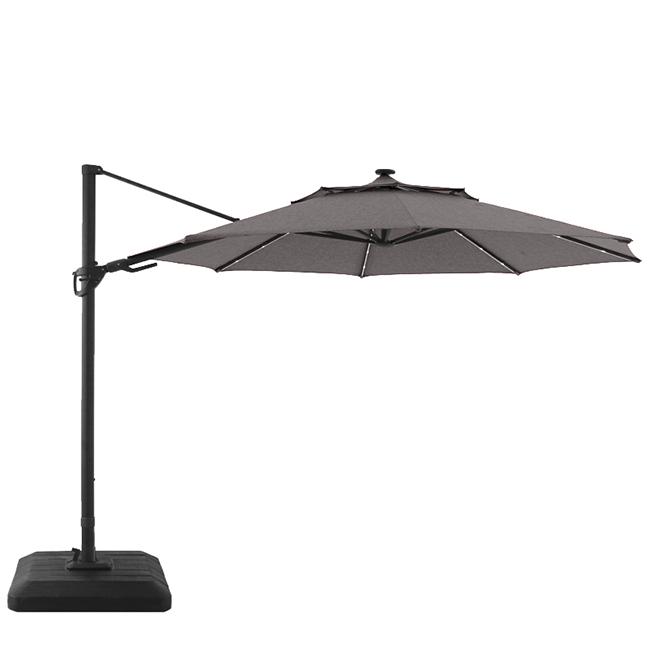 Cantilever Umbrella - LED - Aluminum/Olefin - 11'' - Grey/Black