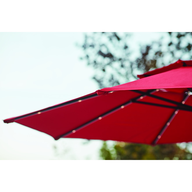Cantilever Umbrella - LED - Aluminum/Olefin - 11'' - Red/Black