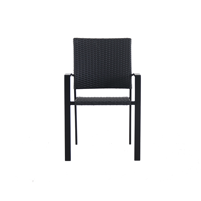 Chaise de patio noire Spoga Adam de Style Selections, empilable, 22,5 po x 23,5 po x 34,5 po
