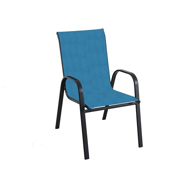 Pleasant Bazik Stackable Patio Chair Aqua Black Fcs70497B Rona Download Free Architecture Designs Grimeyleaguecom