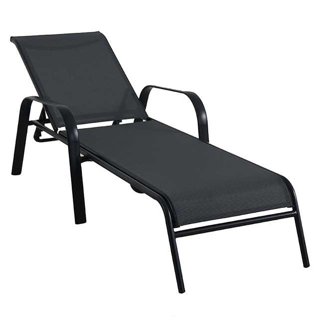 Stackable Lounge Chair - Steel - Sling Fabric - Black/Brown