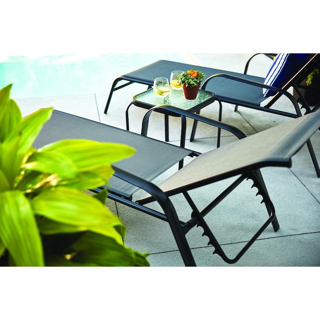 Chaise longue empilable New Pagosa par Style Selections, acier, toile synthétique, noir