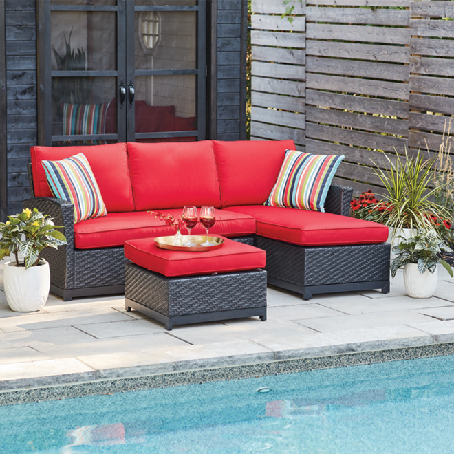 Matheson 3-Piece Sectional Set - Stee/resin/olefin - Red and Black